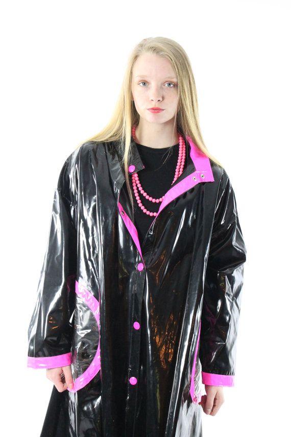80s Vinyl Raincoat Slicker Rain Coat Jacket Pvc By Scarletfury Vinyl Raincoat Raincoat Outfit Rain Fashion