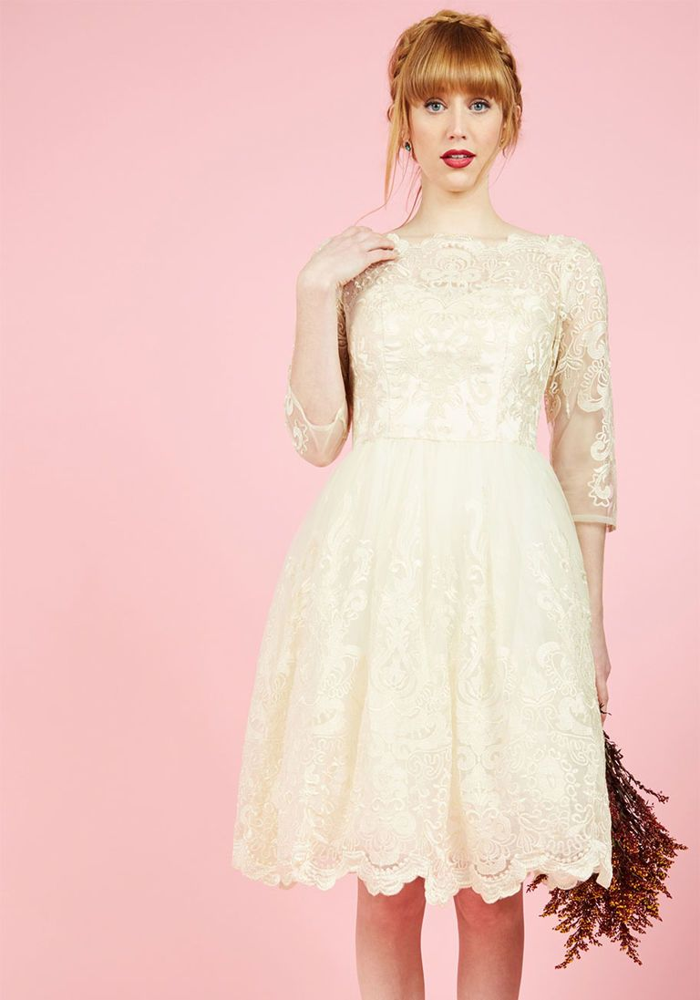 Casual wedding dresses with sleeves  Chi Chi London Gilded Grace Lace Dress in Ivory  Lace dress