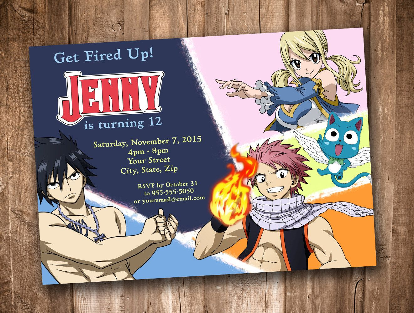 fairy tail personalized invitation digital download