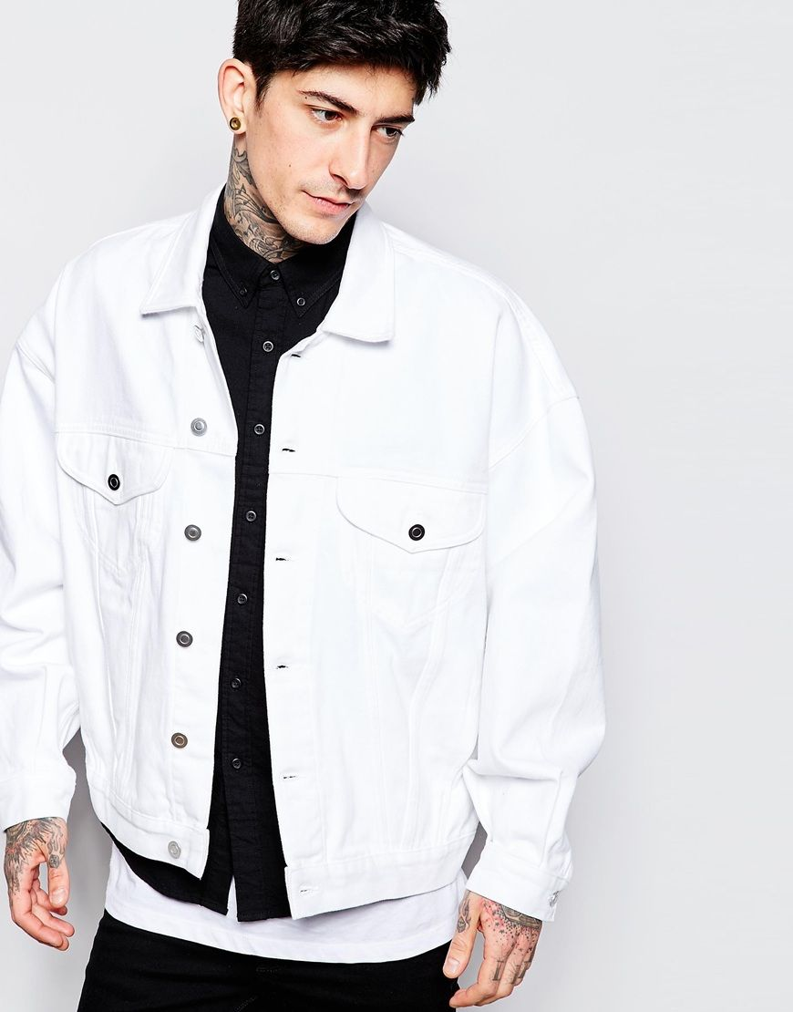 f5b0880b8 ASOS+Oversized+Denim+Jacket+In+White | DENIM / MENS | Oversized ...