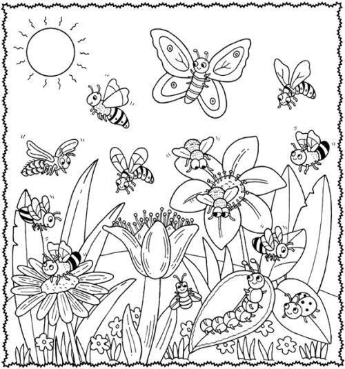 happy animal welcome to spring flower coloring pages
