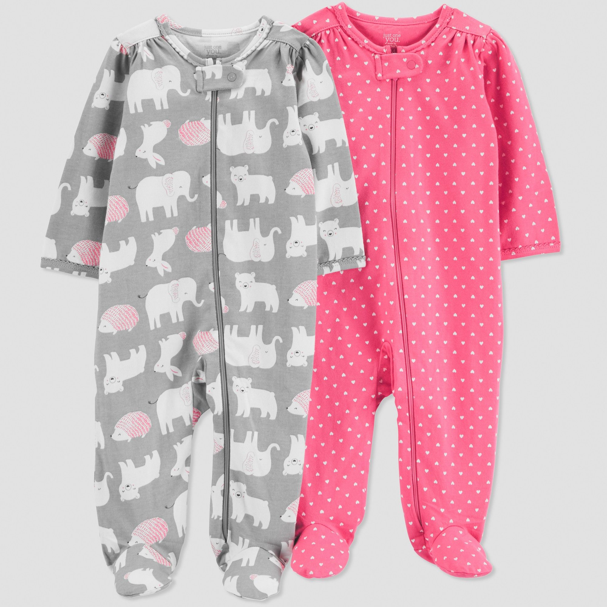 52e5fc071 Baby Girls' 2pk Animals Long Sleeve Sleep 'N Play - Just One You made by  carter's Gray 3M