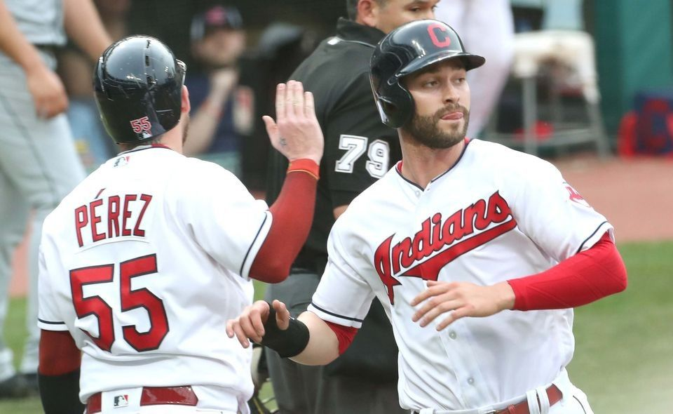 Cleveland Indians Roberto Perez and Tyler Naquin both