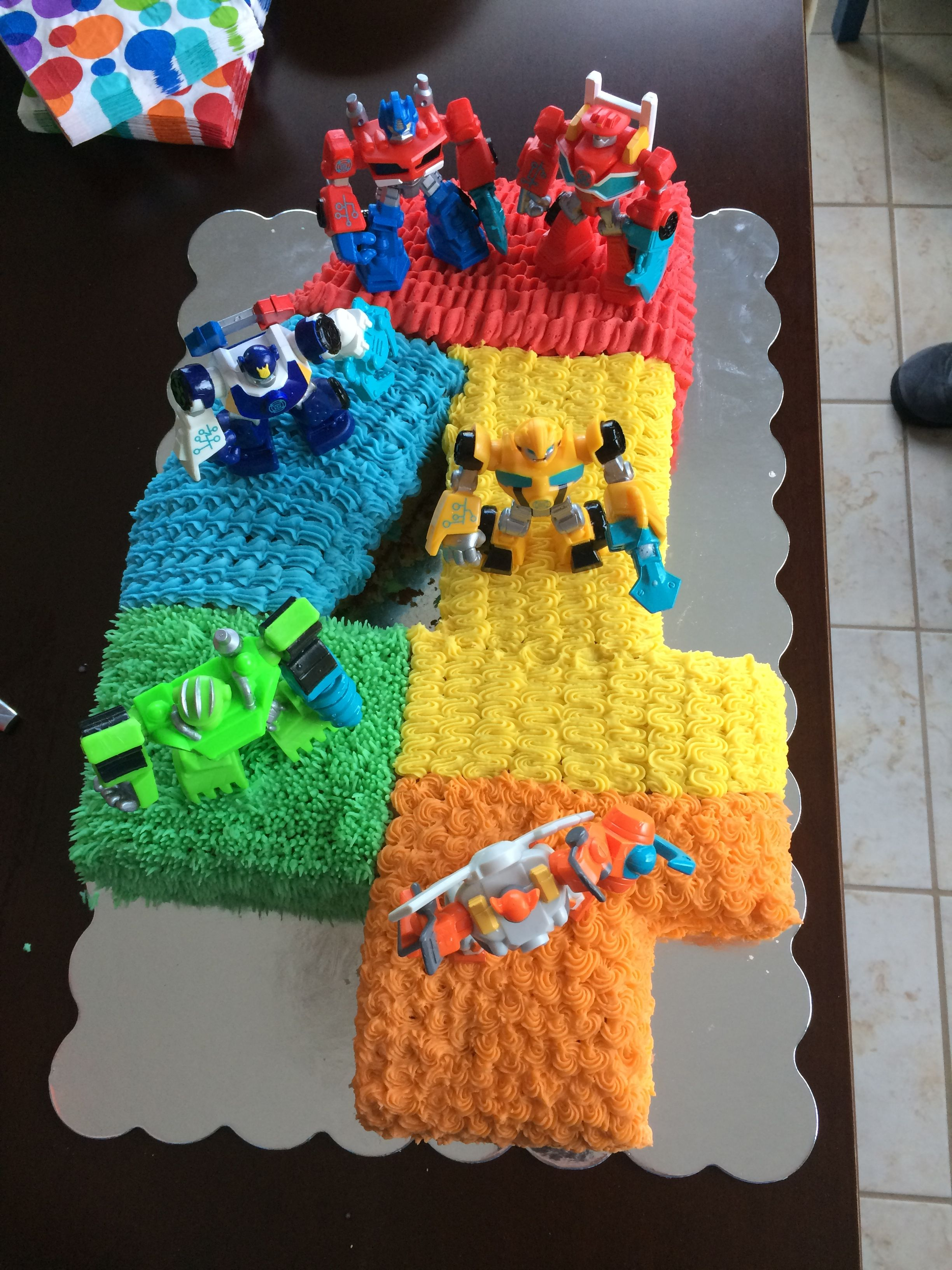 Rescue Bots Birthday Cake Transformer Bot My Desserts In 2018 Pinterest Transformers Cupcakes