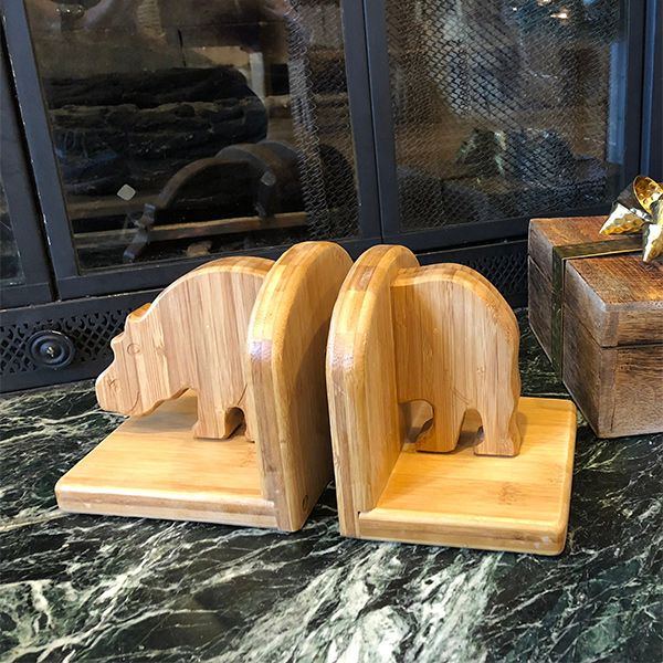 Cute Handmade Bamboo Bookends Feature Hippo Shapes Fun Christmas Or Birthday Gift For Readers Book Lovers Fans And Animal Giftideas