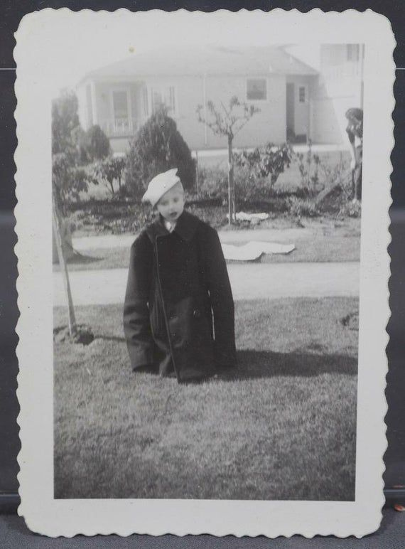 Vintage Black & White Photograph European Soldiers w/ HorseVintage Black & White Photograph 1940's Small Child Wearing Navy Soldier's Hatroughly 2-1/2