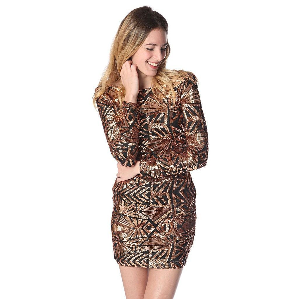 Golden geo patterned sequin mini dress products pinterest