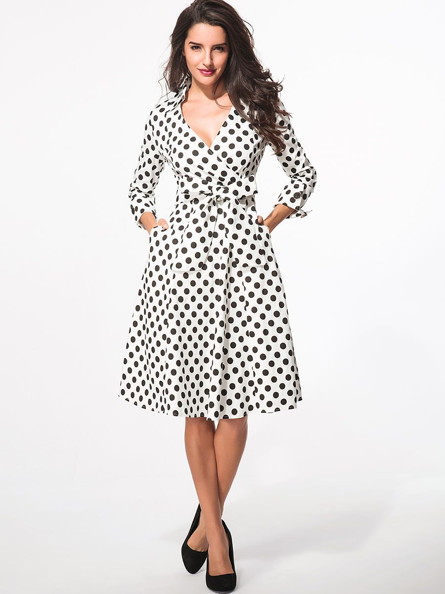 Surplice Bowknot Pockets Polka Dot Skater Dress | White