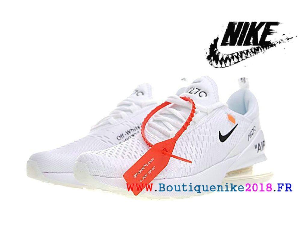 44153122298 Off White x Nike Air Max 270 Basketball Chaussures Pas Cher Prix Homme Blanc    noir AH8050-100