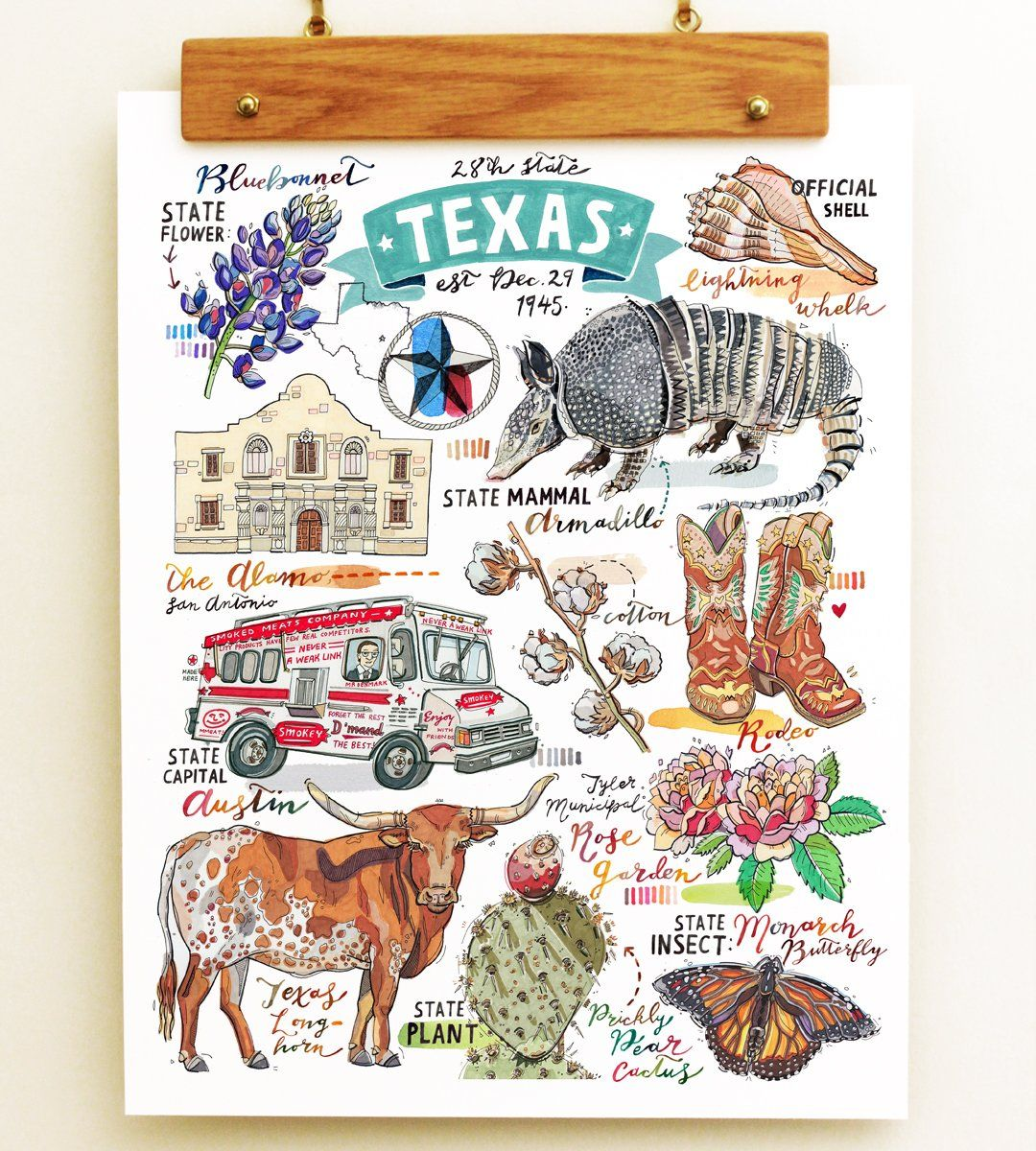 Texas State Print. This illustration is perfect for anybody who loves to celebrate their Texas State pride! I have focused on various symbols that represent the Lone Star State, and other things that are synonymous with this beautiful place. Armadillos! Cowboys! Austin food truck scene! Longhorn cattle! Print of my original illustration. Signed in pencil on the back. Printed on Epson Velvet Fine Art paper: a luxurious and sturdy 260gsm professional 100% cotton fiber paper. Sizes…