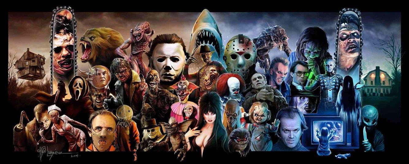 Horror collage horizontal horror movie art classic