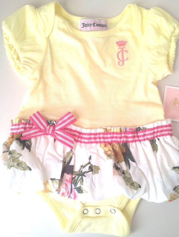 Juicy Couture Baby Girl Floral Bodysuit One Piece Size 3 6 Months