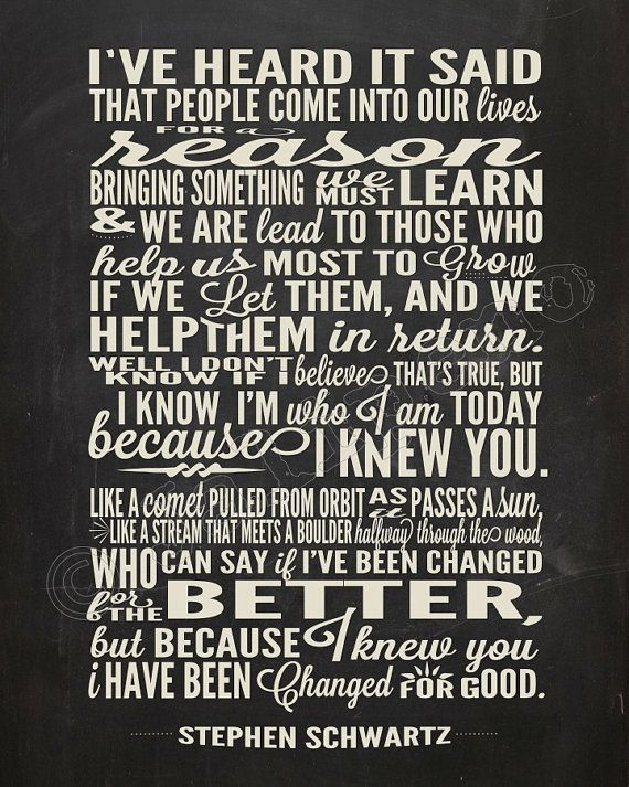 I Have Been Changed For Good Song Lyrics   INSTANT DOWNLOAD Printable  Wicked The Broadway Musical