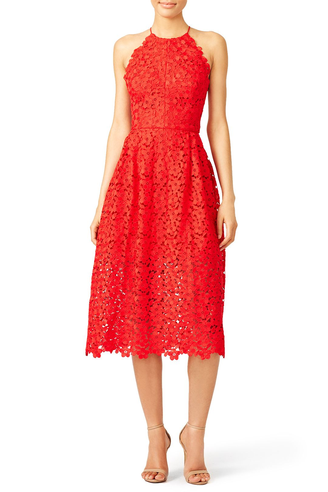 Rent Cherry Red Lace Halter Dress by Cynthia Rowley for $75 only at ...