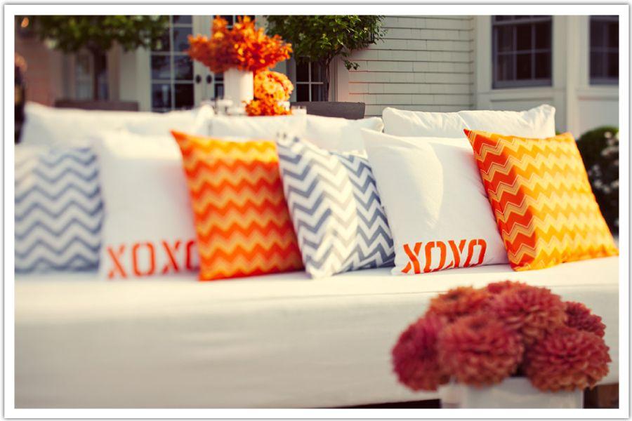 Orange & White, Grey & White Chevron Custom Pillows by Nena Von/ Alchemy Fine Events www.alchemyfineevents.com