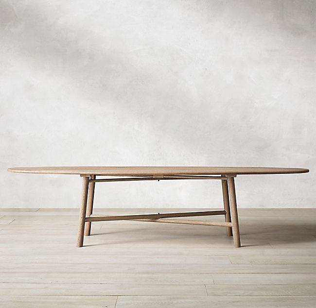 Surfboard Oak Oval Dining Table In 2020 Oval Table Dining Oak Furniture Scandinavian Dining Table