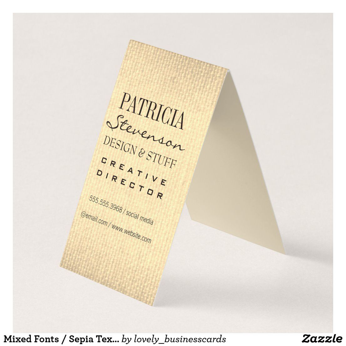 mixed fonts  sepia texture business card  zazzle in