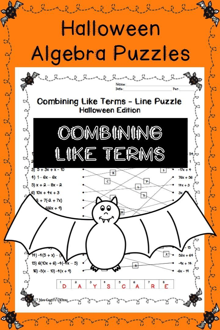 Algebra Halloween Puzzles – Combining Like Terms Printable Worksheets