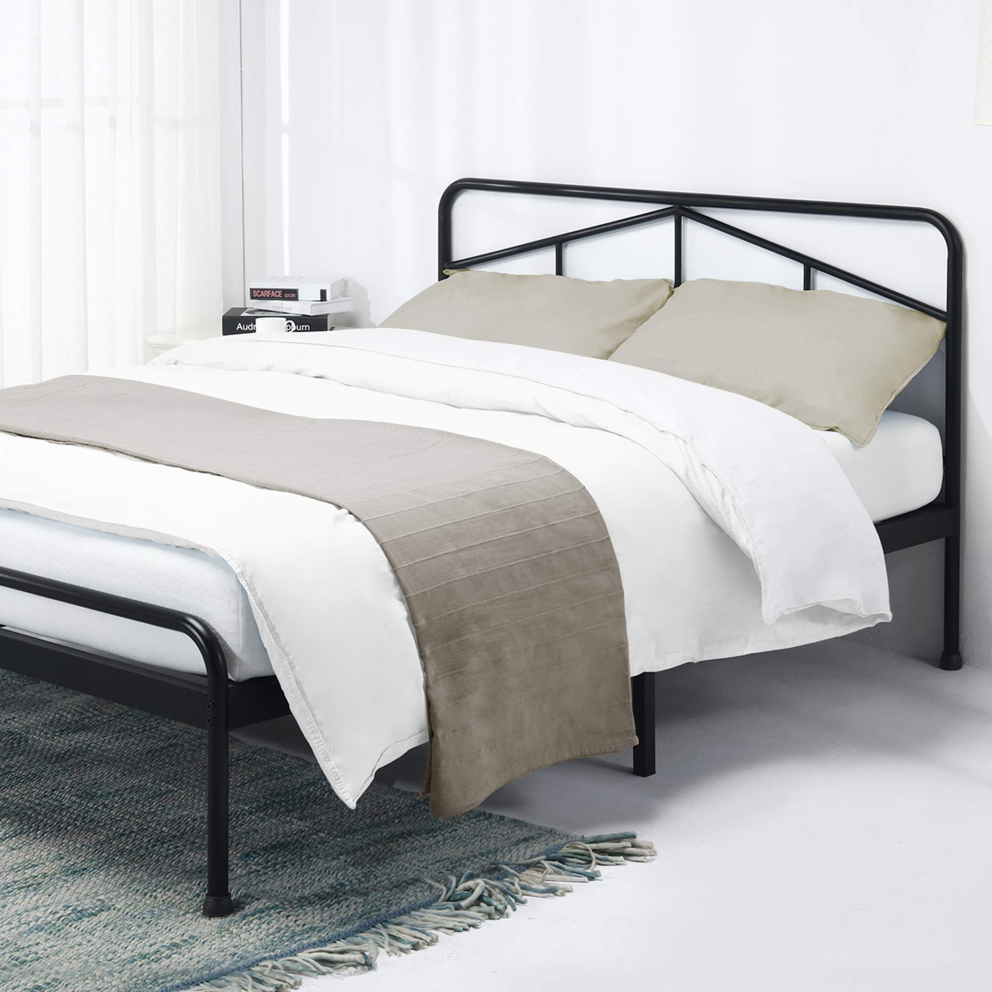 Black bedding upholstered in 2020 Metal platform bed