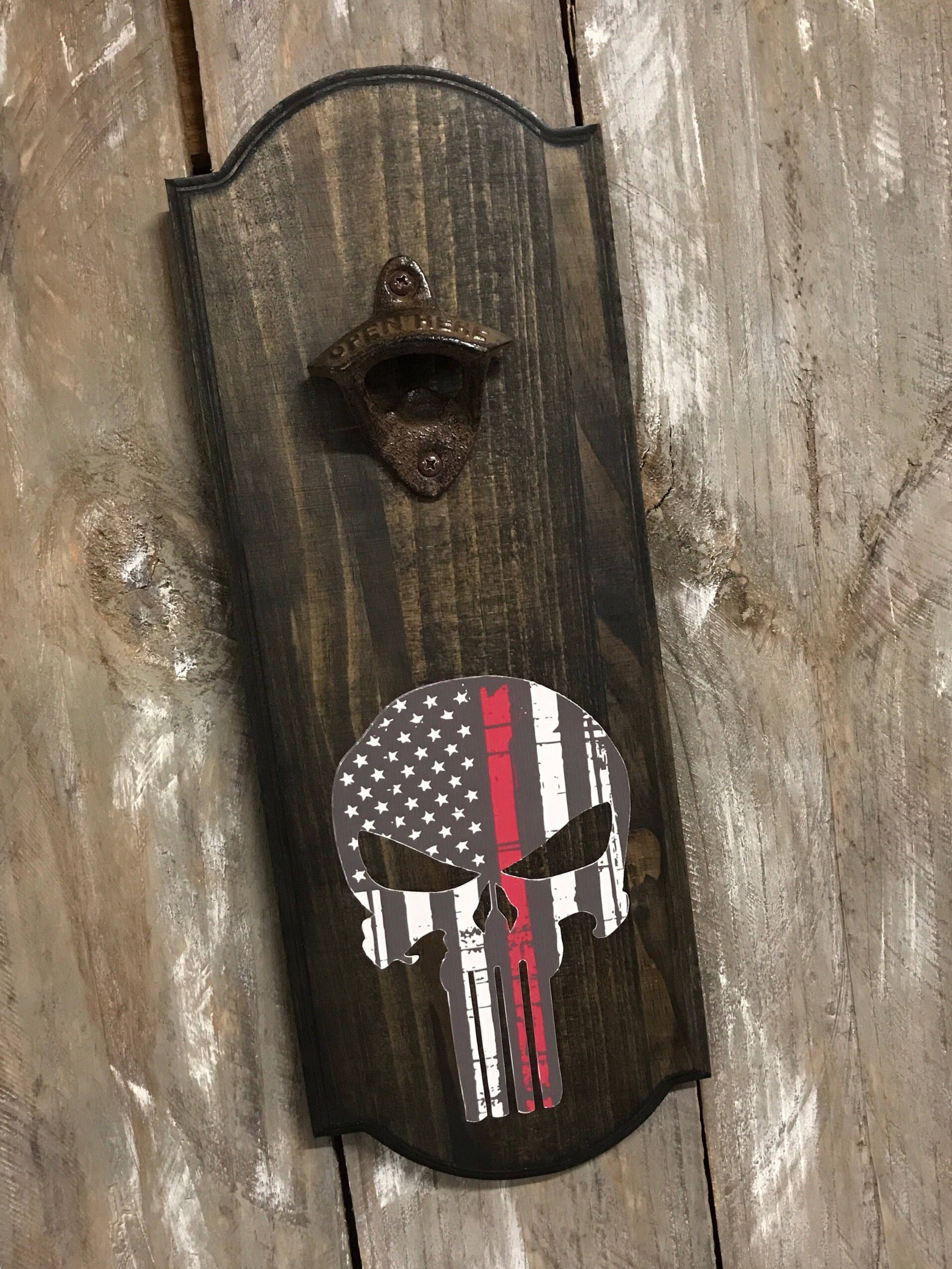 Wall Mount Bottle Opener Wedding Gift Fire Department Hanging Bottle Opener Man Cave Thin Red Line Hanging Bottle Opener Groomsmen Gift