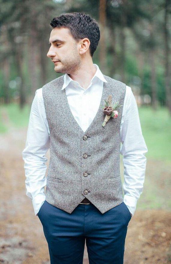Men S Vest Wedding Tweed Waistcoat For Men Brown Herringbone Waistcoats Custom Made Grey Vests Wool Vest Men In 2020 Tweed Vest Mens Tweed Vest Tweed Waistcoat