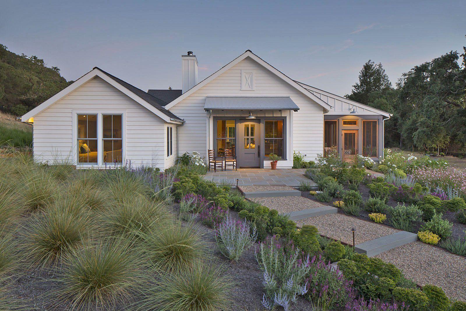Image Result For Modern Farmhouse White Drought Tolerant Landscaping Farmhouse Landscaping Farmhouse Exterior Modern Farmhouse Exterior