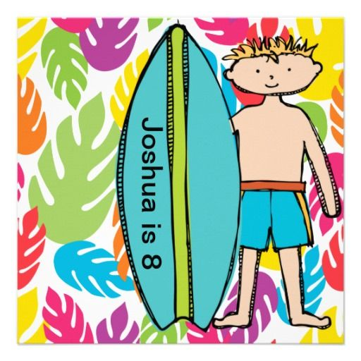 Custom Blond Boy Surfer Birthday Invites
