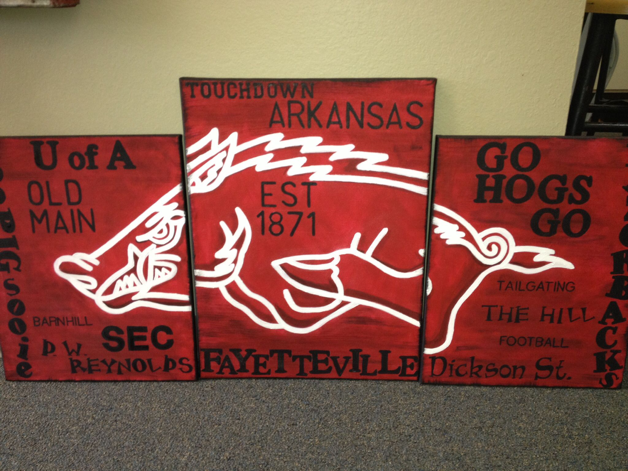 party football hogs table razorback game arkansas pin i decor made go day