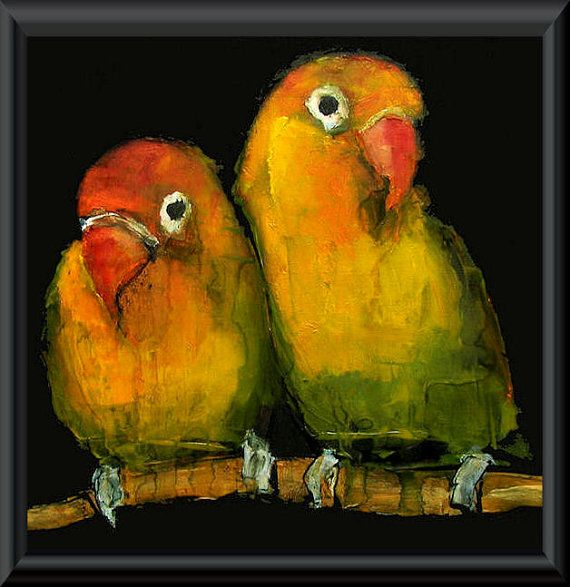 LOVEBIRDS LOVE BIRD Abstract Art Giclee print by ColetteDavisArt