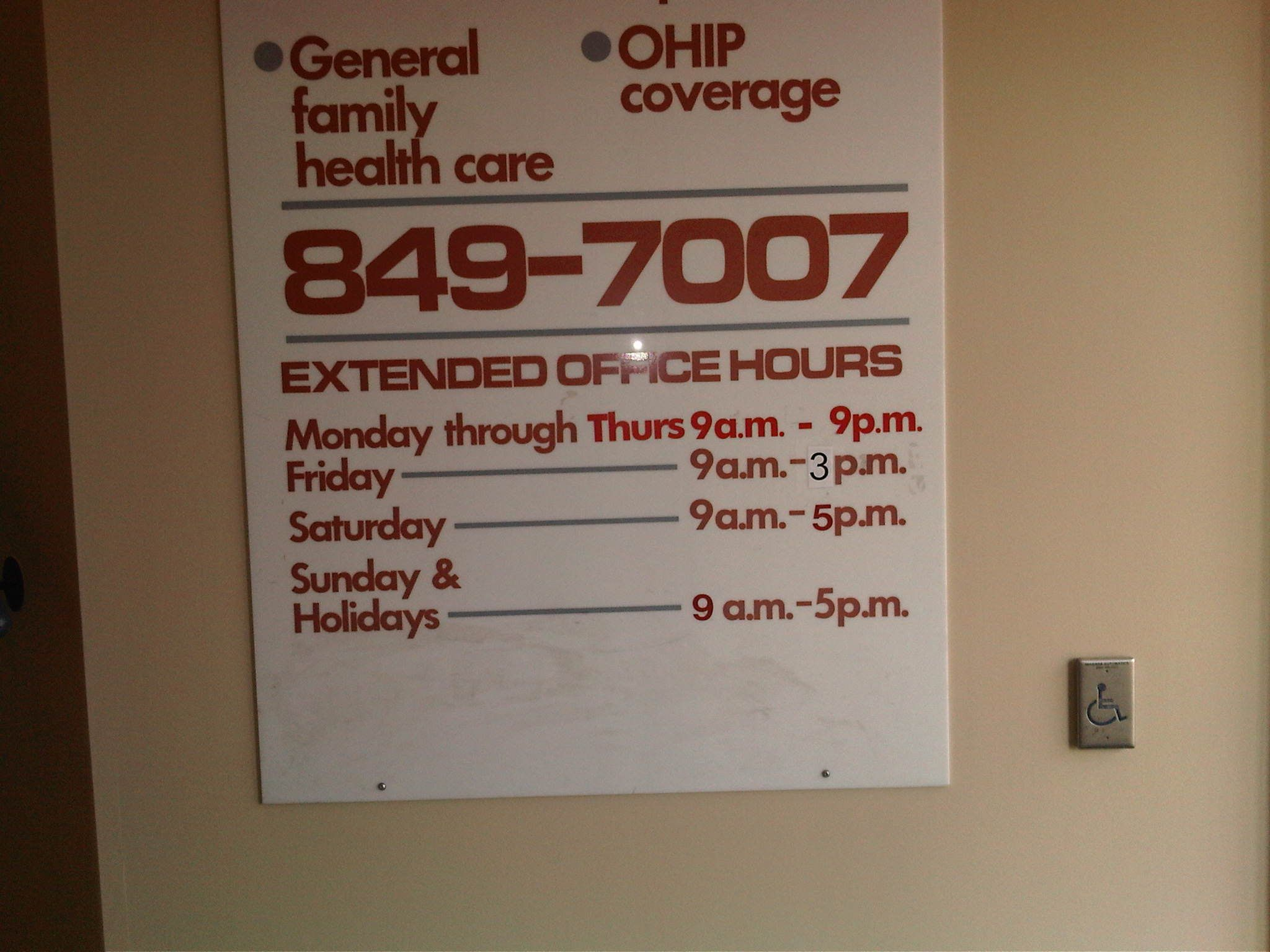Mci clinic hours and phone number family health doctor