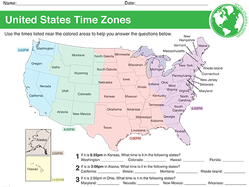 USA Time Zone Map & Worksheet | Homeschool | Map worksheets, Time ...