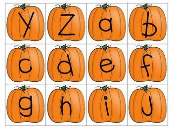 Pumpkin Alphabet Cards - Matching & Sequencing - Kindergarten Krysta - TeachersPayTeachers.com