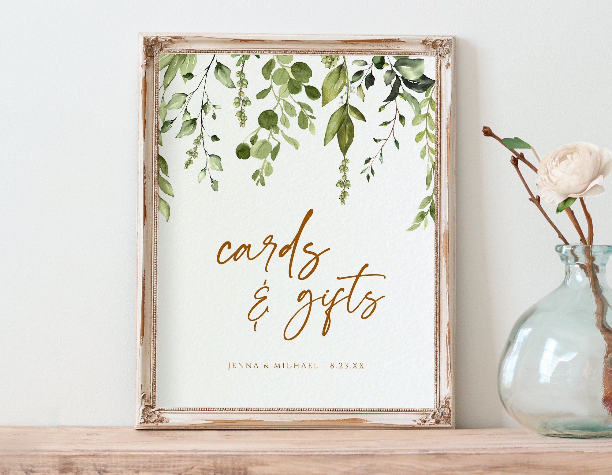 Cards Gifts Sign Template 8x10 Romantic Greenery Templett In 2020 Sign Templates Gifts Sign Wedding Templates
