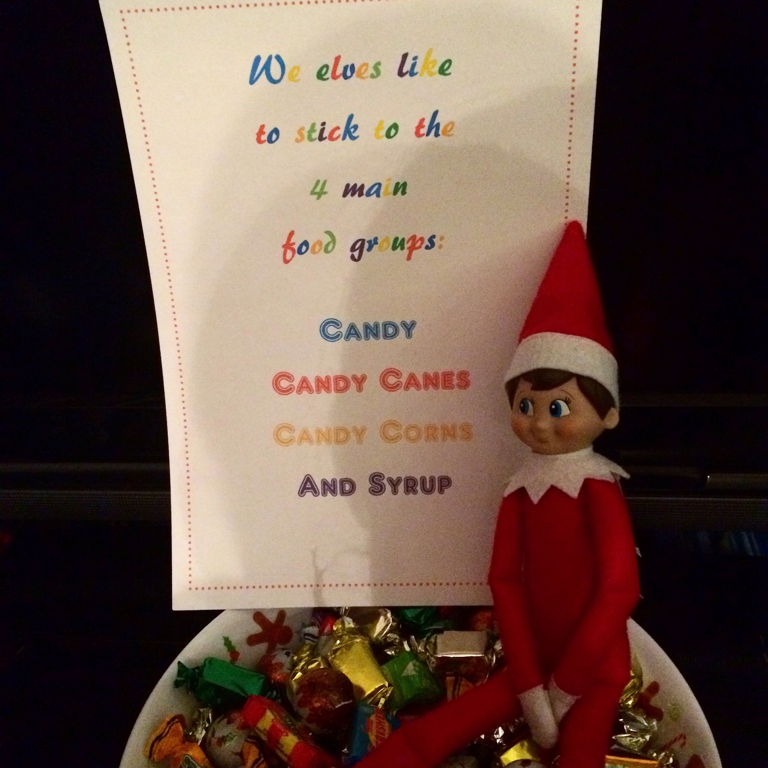 2015 - Day 11: Loki brought out our traditional festive bowl of sweets #OurElfOnTheShelf #ElfOnTheShelf #ElfQuotes