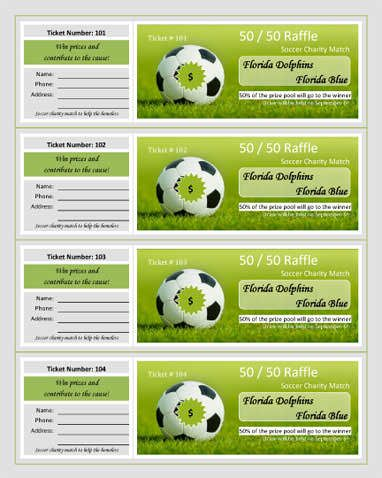 Soccer Charity Match Raffle Ticket Template 5 to año colegio San - fundraising ticket templates
