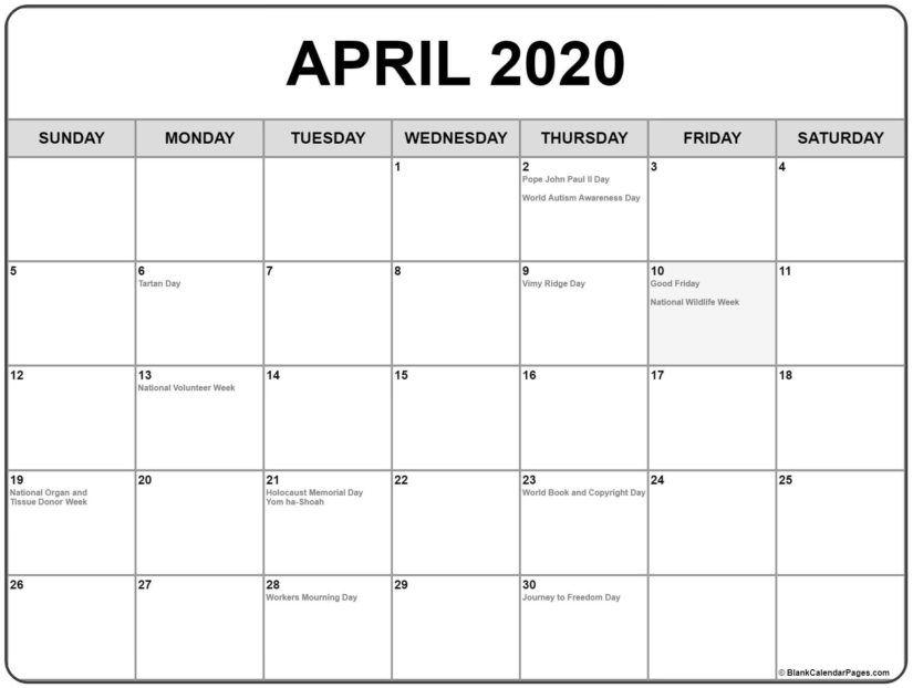 30 Best Free Printable April 2020 Calendars In 2020 Calendar