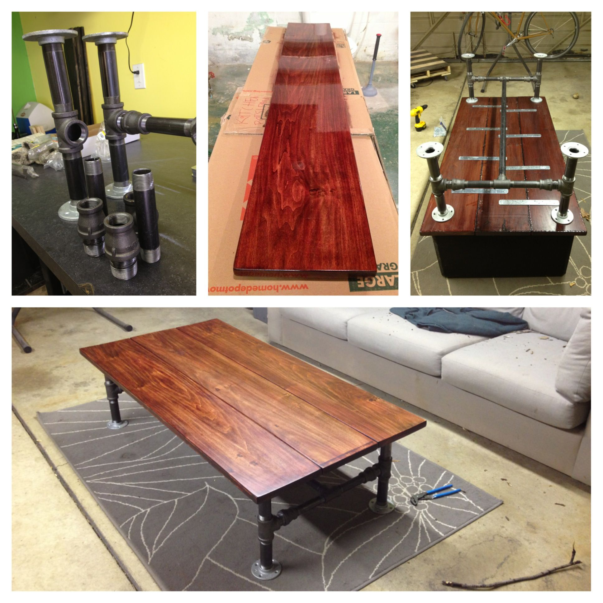 Black Pipe Coffee Table Diy: DIY Coffee Table Made Out Of Poplar Wood And Black Pipe
