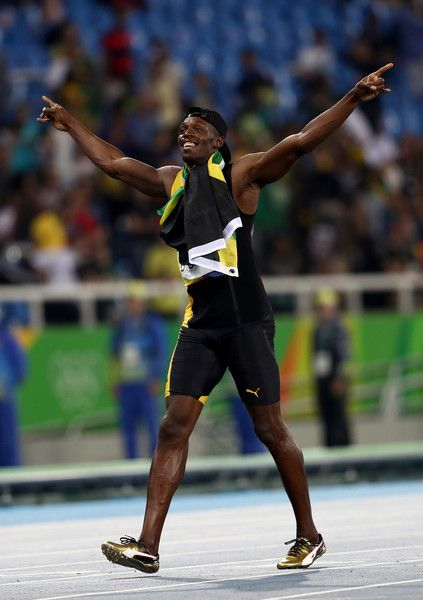 Usain Bolt of Jamaica celebrates winning the Men's 4 x ...