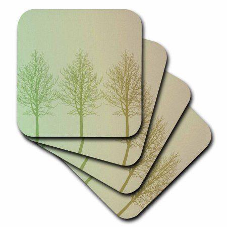 3dRose Three Green Gold Trees, Soft Coasters, set of 8