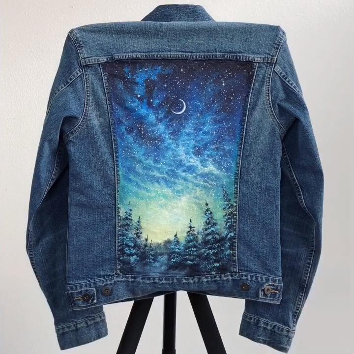 Starry Night Painted Jacket Time-Lapse #jeanjacketoutfits