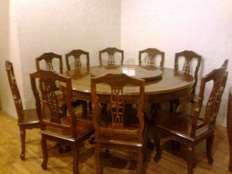 Hot Item Antique Rose Wood Dining Set 1 Table With 10 Chairs