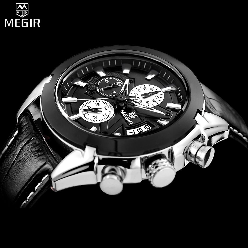 US $124.50 - MEGIR Chronograph Casual Watch Men Luxury Brand Quartz Military Sport Watch Genuine Leather Men's Wristwatch relogio masculino