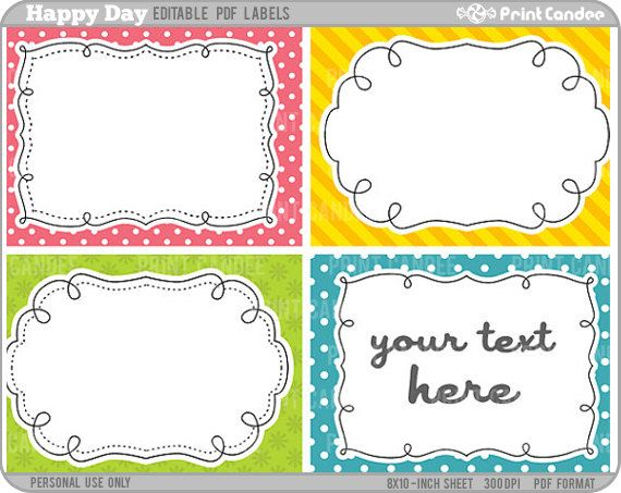... Templates Free Rectangle   Editable PDF (8x10) Happy Days Labels (No  222   Name Labels ...  Large Label Template