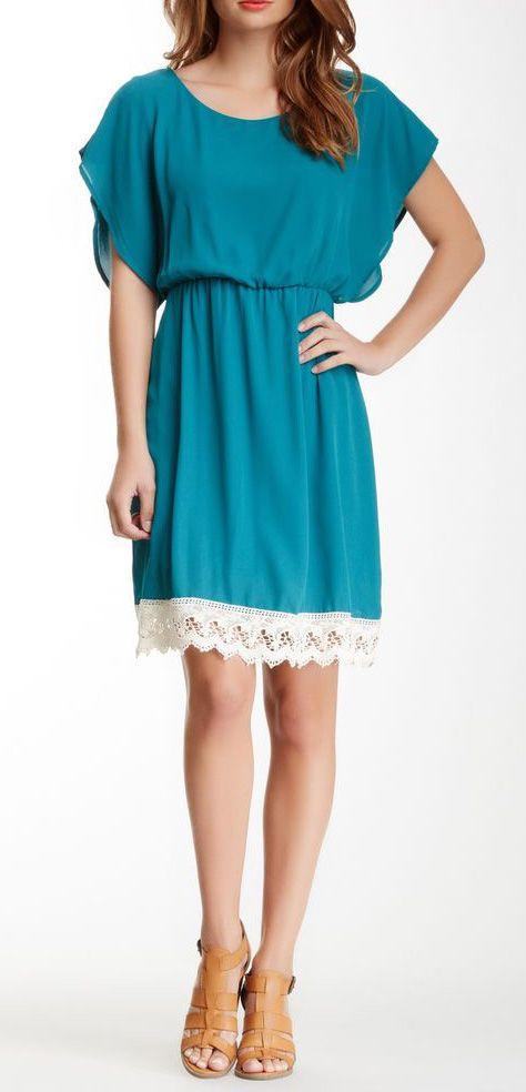Peach Love Lace Trim Dress