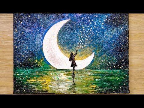 Como Dibujar Una Nina A La Luz De La Luna Con 1 Millon De Estrellas Tecnica De Pintura A Pinturas Abstractas Arte En Lienzo Tutoriales De Pintura En Acuarela