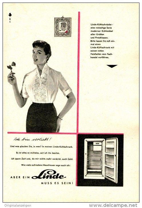 Original Werbung Inserat Anzeige 1956 Linde Kuhlschranke Ca 115