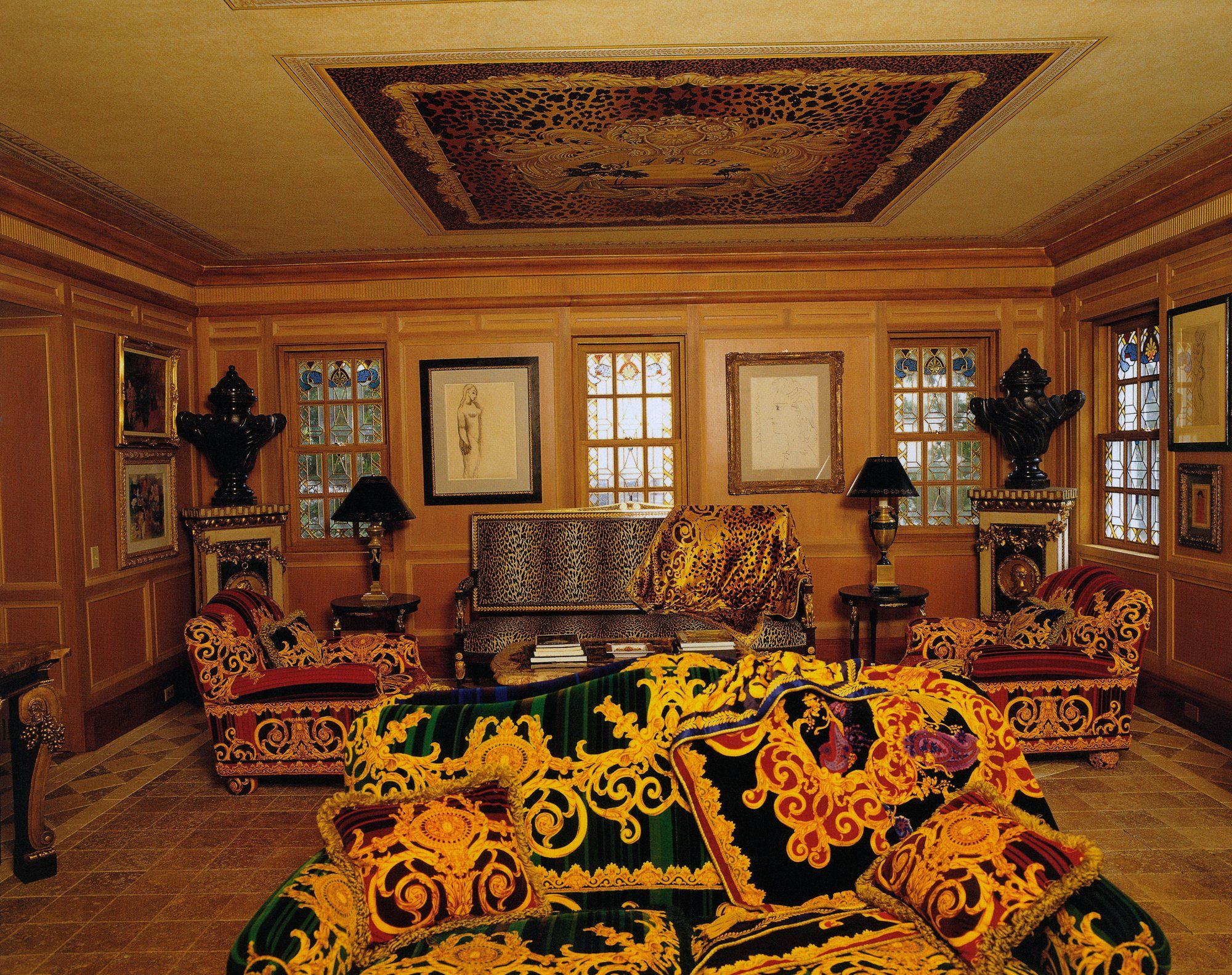 From The Vogue Archive Gianni Versace S Opulent Casa Casuarina Gianni Versace Versace Versace Home #versace #living #room #curtains