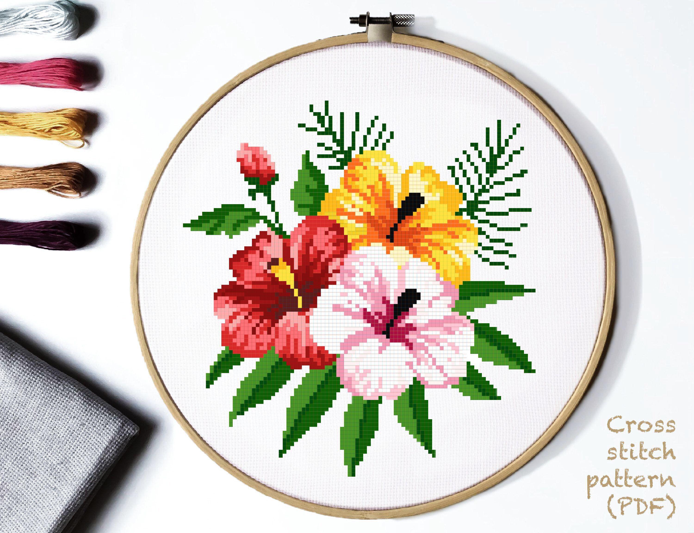 Tropical Flowers Modern Cross Stitch Pattern Floral Cross Etsy In 2021 Floral Cross Stitch Modern Cross Stitch Patterns Modern Cross Stitch