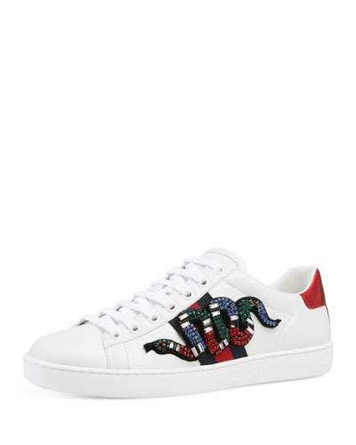 340f4869a3f GUCCI Ace Snake Low-Top Sneaker
