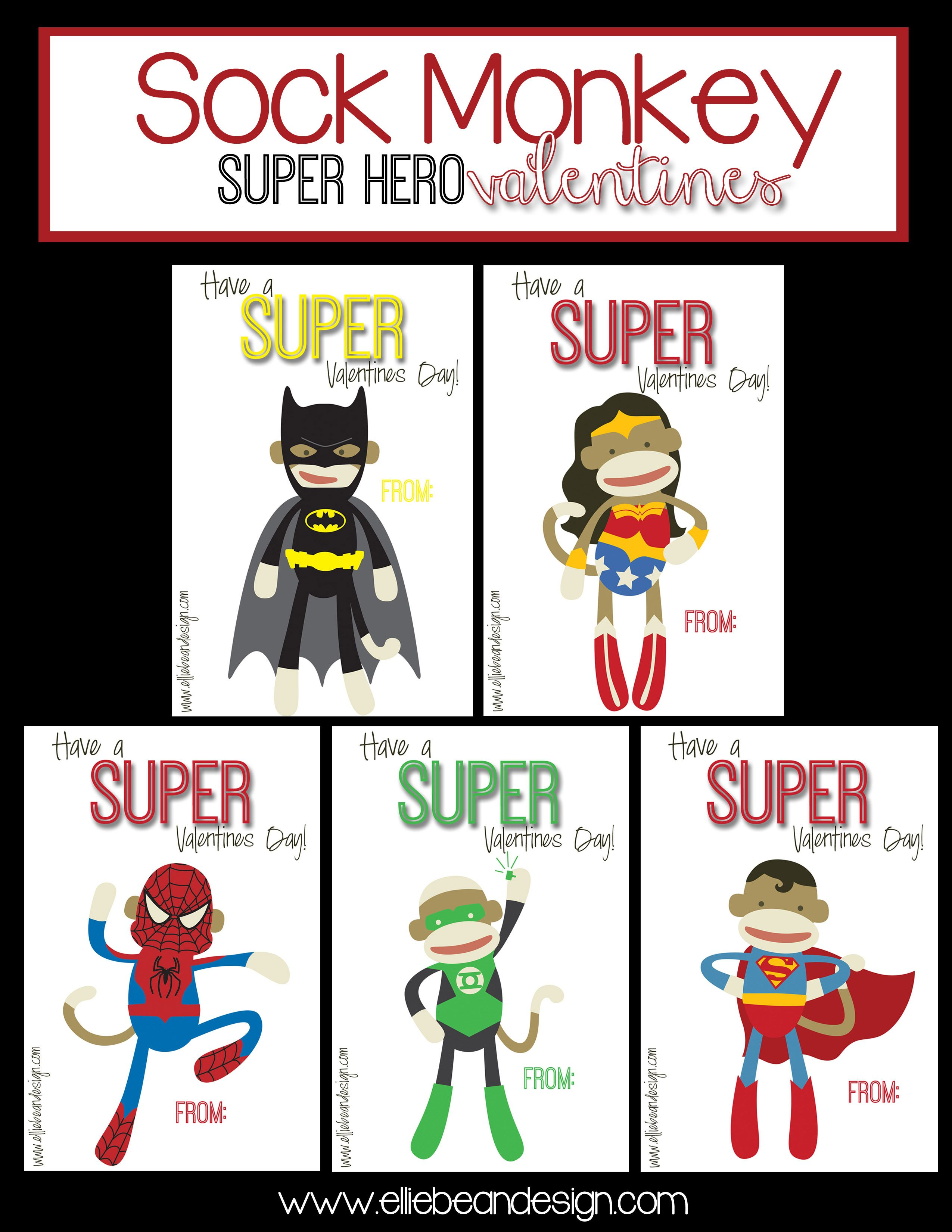 Sock Monkey SuperHero Valentines Over the Big Moon – Monkey Valentine Cards
